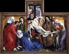 Rogier Van der Weyden (1400-1474): descente de croix. Vers 1435. Huile sur bois de chêne, 220 x 262 cm. Madrid, musée du Prado. (Histoire de l'art - Quattrocento