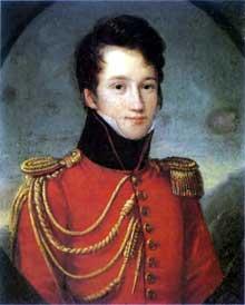 Alfred de Vigny âgé de 17 ans, en uniforme de la Maison du Roi, par F.J. Kinston