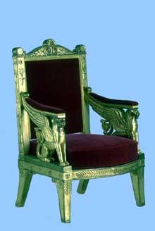 François-Honoré-Georges Jacob-Desmalter: Fauteuil de la Tribune de l'Impératrice au Corps Législatif. 1804-1805 Bois sculpté et doré, velours rouge