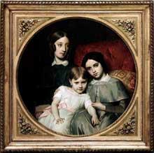 François Léon Benouville: Portrait des trois filles d'Alphonse Jacob-Desmalter. 1848. 97 x 97 cm. Paris, Musée du Louvre