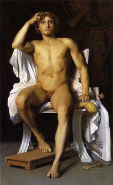 François Léon Benouville: la colère d'Achille. 1847. Huile sur toile, 156 x 95 cm. Montpellier, Musée Fabre