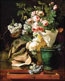 Antoine Berjon: Nature morte de fleurs, de coquillages, de tête de requin et de pétrifications. 1819