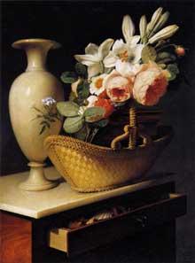 Antoine Berjon: Bouquet de lis et de roses dans une corbeille posée sur une chiffonnière.1814. Huile sur toile, 66 x 50 cm. Paris, musée du Louvre.
