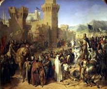Merry Joseph Blondel: la reddition de Ptolemaix à Philippe Auguste et Richard Cœur de Lion. Huile sur toile, 494 x 406 cm. Versailles, musée du château