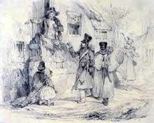 Nicolas Charlet: Trois soldats arrivant à leur quartier. Lithographie