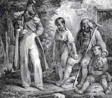 Nicolas Toussaint Charlet: soldat, vieillard et enfants. Lithographie, 25 x 28,5 cm