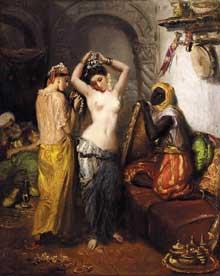 Théodore Chassériau: Intérieur oriental. 1850-1852. Huile sur toile, 46 x 38 cm. Collection privée