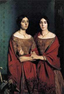 Théodore Chassériau: Les sœurs de l'artiste. 1843. Huile sur toile, 180 x 135 cm. Paris, musée du Louvre