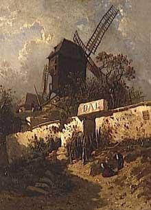 Eugène Ciceri: le moulin de la Galette. 1846. Huile sur toile
