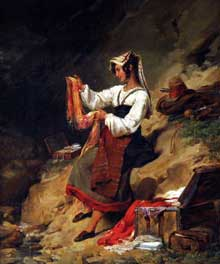 Léon Cogniet: La femme du brigand. Huile sur toile collée sur bois. New York, Metropolitan Museum of Art