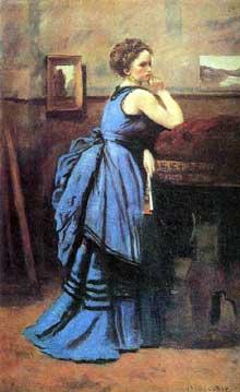 Camille Corot: la femme en bleu. 1874. Huile sur toile, 80 × 51 cm. Paris, Musée du Louvre