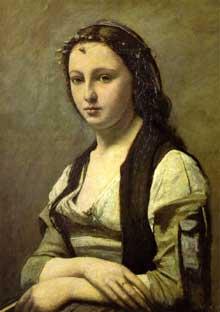Camille Corot: femme à la perle. 1868-1870. Huile sur toile, 70 x 55 cm. Paris, Musée du Louvre