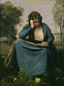Camille Corot: La Liseuse couronnée de fleurs ou «La Muse de Virgile». 1845. Huile sur toile 47 cm x 34 cm. Paris, musée du Louvre