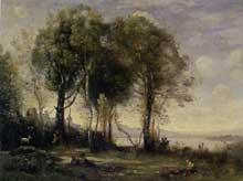 Camille Corot: Les Chevriers de Castel Gandolfo. 1866. Huile sur toile 59 cm x 78 cm. Caen, musée des Beaux-Arts
