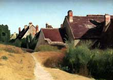 Camille Corot: Maisons près d'Orléans. Vers 1830. Huile sur papier collé sur carton. Los Angeles, Paul Getty Museum