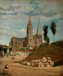 Camille Corot: La cathédrale de Chartres. 1830. Huile sur toile, 52 cm x 64 cm. Paris, Musée du Louvre