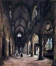 Louis Daguerre: Intérieur de Rosslyn Chapel. 1824. Huile sur toile, 113 x 97 cm. Rouen, Musée des Beaux-Art