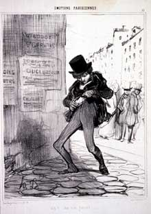 Honoré Daumier: Volé! Rue Vide-Gousset... lithographie tirée des Emotions Parisiennes. 1839