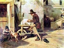 Alexandre Gabriel Decamps: le rémouleur. 1840. Huile sur toile, 38 x 51 cm. Paris, Musée du Louvre.