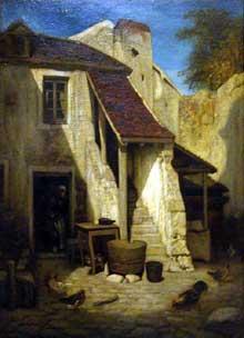 Intérieur de cour rustique à Fontainebleau. 1850. Huile sur toile, 57 x 48 cm. Paris, Musée d'Orsay