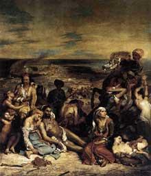 Eugène Delacroix: les massacres de Chio. 1824. Huile sur toile, 419 x 354 cm. Paris, Musée du Louvre