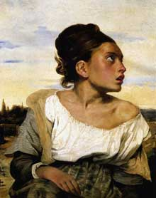 Eugène Delacroix: orpheline au cimetière. Etude préparatoire pour les «Massacres de Scio». 1824. Huile sur toile, 65,5 x 54,3 cm. Paris, Musée du Louvre