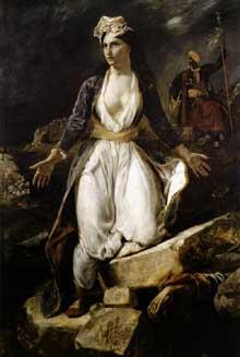 Eugène Delacroix: la Grèce sur les ruines de Missolonghi. 1826. Huile sur toile, 209 x 147 cm. Bordeaux, Musée des Beaux-Arts