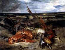 Eugène Delacroix: nature morte au homard. Huile sur toile, 80,5 x 106,5 cm. Paris, Musée du Louvre