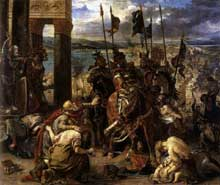 Eugène Delacroix: l'entrée des croisés à Constantinople. Huile sur toile, 410 x 498 cm. Paris, Musée du Louvre