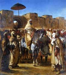 Eugène Delacroix: le sultan du Maroc et son entourage. 1845. Huile sur toile, 384 x 343 cm. Toulouse, Musée des Augustins