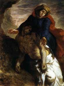 Eugène Delacroix: Piéta. Vers 1850. Huile sur toile, 35 x 27 cm. Oslo, Nasjonalgalleriet