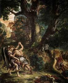 Eugène Delacroix: la lutte de Jacob et de l'Ange. Détail. 1854-1861. Huile et cire sur plâtre, 751 x 485 cm (l'ensemble). Paris, église Saint-Sulpice