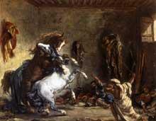 Eugène Delacroix: chevaux arabes combattant dans l'écurie. Huile sur toile, 65 x 81 cm. Paris, Musée du Louvre