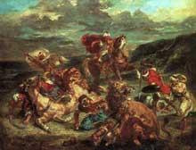Eugène Delacroix: chasse aux lions. 1861. Huile sur toile, 76 x 98 cm. Chicago, Art Institute