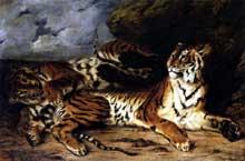 Eugène Delacroix: jeune tigre jouant avec sa mère. 1830
