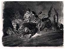 Eugène Delacroix: Faust et Méphisto au sabbat des sorcières. Lithographie. 1825-1827