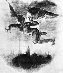 Eugène Delacroix: Méphisto. Lithographie tirée du Faust de Goethe. 1825-1827