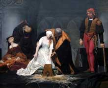 Paul Delaroche: L'exécution de lady Jane Grey. 1833. Huile sur toile. 297 x 246 cm. Londres, National Gallery