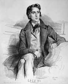 Achille Dévéria: portrait de Franz Liszt à l'âge de 21 ans. Lithographie