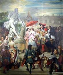 Eugène Dévéria: Puget présentant la statue de Milon de Crotone à Louis XIV dans les Jardins de Versailles. Peinture sur plafond. Paris, Musée du Louvre, galerie Campana
