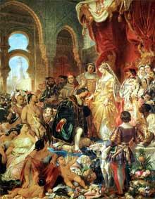 Eugène Dévéria:la réception de Christophe Colomb par Ferdinand II d'Aragon et Isabelle de Castille. Huile sur toile. Clermont-Ferrand, Musee Bargoin