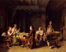 Martin Drolling: Le messager ou la bonne nouvelle. 1806. Huile sur toile, 72 x 91 cm. Collection privée.