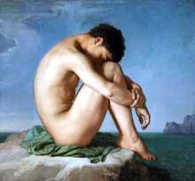 Hippolyte Flandrin: Jeune homme assis au bord de la mer. 1836. Huile sur toile, 115 x 98 cm. Paris, musée du Louvre