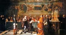 Robert Fleury: Galilée face au tribunal de l'Inquisition Catholique Romain. 1847. Huile sur toile. Paris, Musée du Louvre