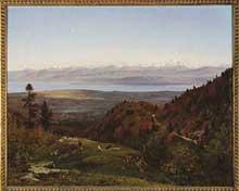 François Louis Français: le Mont Blanc vu de saint Cergues. 1869. Huile sur toile, 162 x 128 cm. Paris, musée d'Orsay