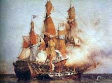 Louis Garneray: la prise du Kent par Surcouf. 1800. Huile sur toile. Saint Malo, musée d'Histoire de la ville.