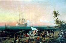 Louis Garneray: Jean de Bethencourt découvre l'île de Lanzarote. 1848. Huile sur toile. Sèvres, Musée de la céramique