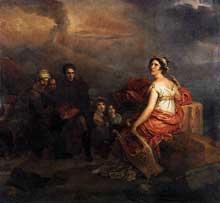 François Pascal Simon, baron Gérard: Corinne au Cape Mysène. 1819. Huile sur toile, 266 x 277 cm. Lyon, Musée des Beaux-Arts