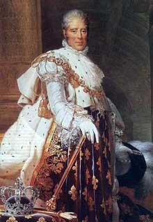 François Pascal Simon, baron Gérard: Charles X, roi de France (1757-1836) en habit de sacre. 1825. Musée du Prado, Madrid