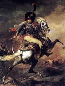 Théodore Géricault: Officer des chasseurs commandant une charge. 1812. Huile sur toile, 349 x 266 cm. Paris, Musée du Louvre